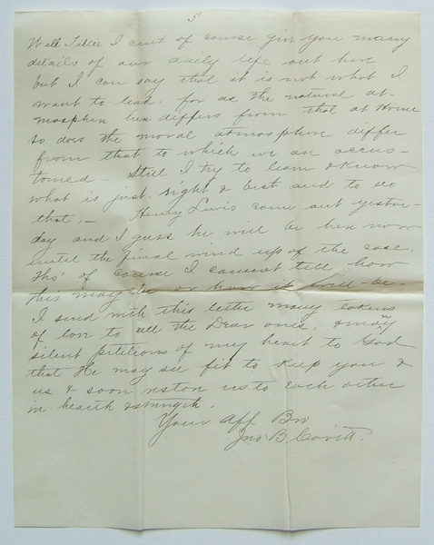 page of 1890 letter from El Paso, Texas