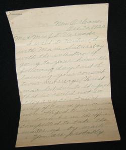 1920 letter from Blankenbaker to Varnado