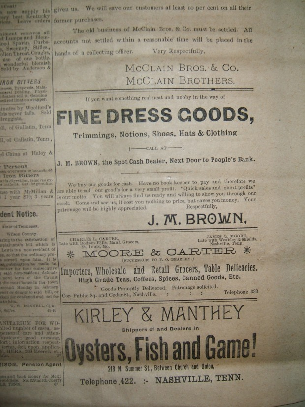 ads from 1891 Lebanon, Tennessee newspaper