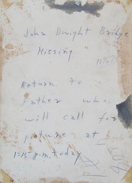 writing on the back of the Dwight Bridge photo of 1943