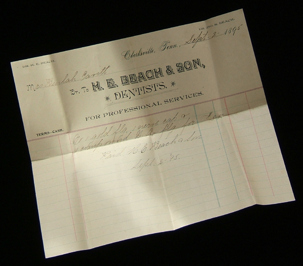 dental bill from 1895