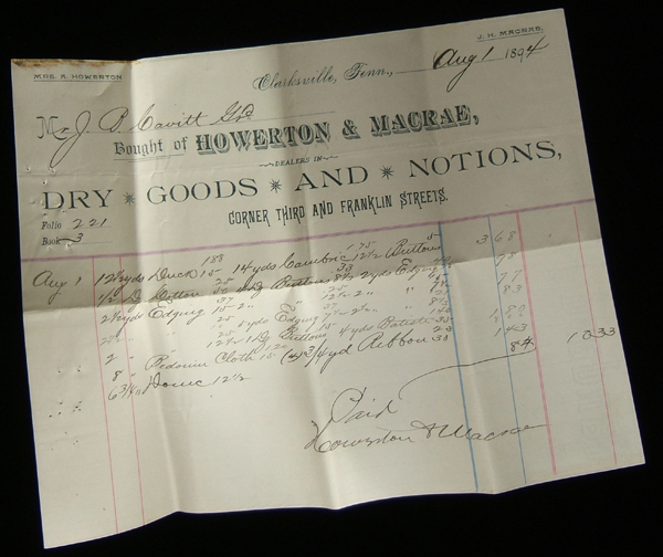 1894 bill from Howerton and Macrae Dry Goods, Clarksville, TN
