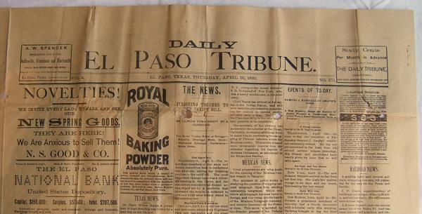 El Paso Tribune April 10, 1890