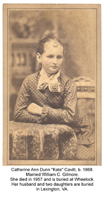Kate was the twelfth child of Josephus and Catherine.  She was born in 1868.  She married William C. Gilmore.
