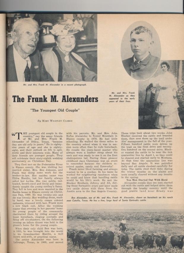 Cattleman article on Lytha, Ben, and Frank Alexander