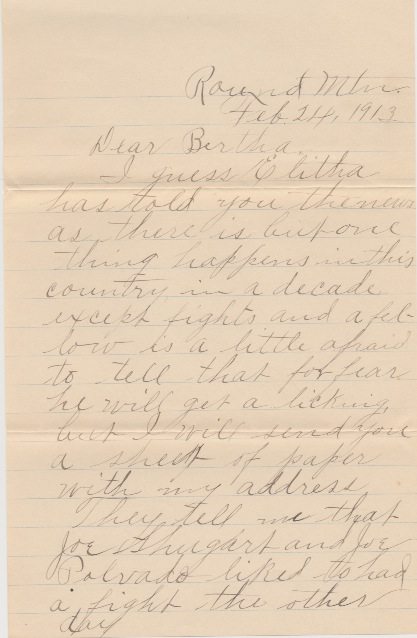 Letter from Frank Alexander Letter p. 1 from Frank Alexander to Bertha, postmarked March 4, 1913