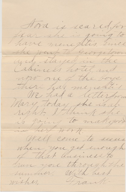 Letter p. 3 from Frank Alexander Letter p. 2 from Frank Alexander to Bertha, postmarked March 4, 1913