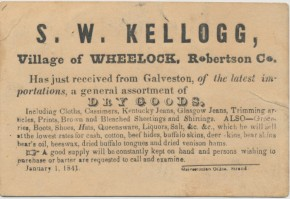 Dry goods store sales card from Wheelock, Texas town in 1841.