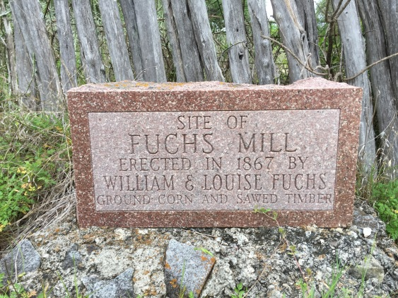 stone commemorating the mill at Cypress Mill, TX